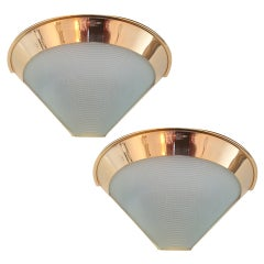 Pair of 1980s Stilnovo Golden Sconces