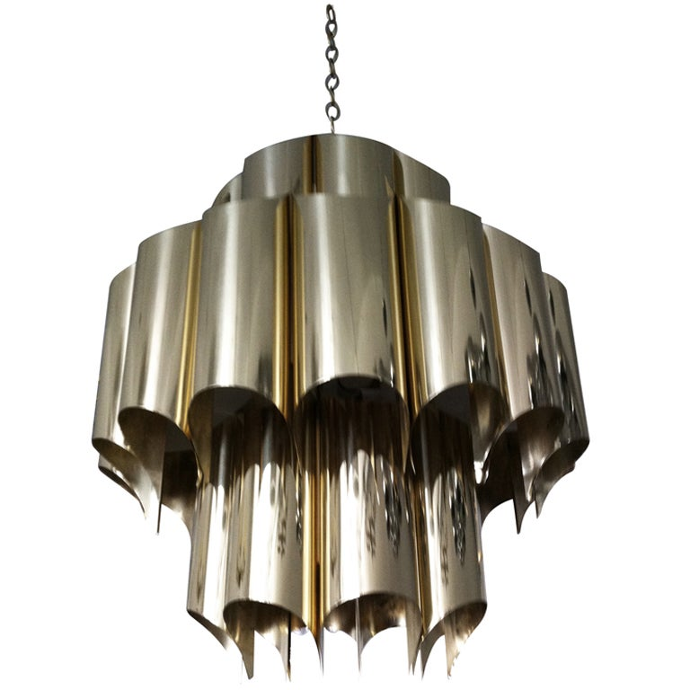 "Robert Sonneman ""High Style"" Brass Chandelier"