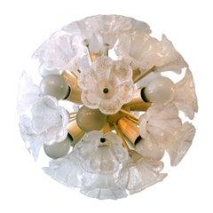 Swedish Glass Floral Pendant Chandelier