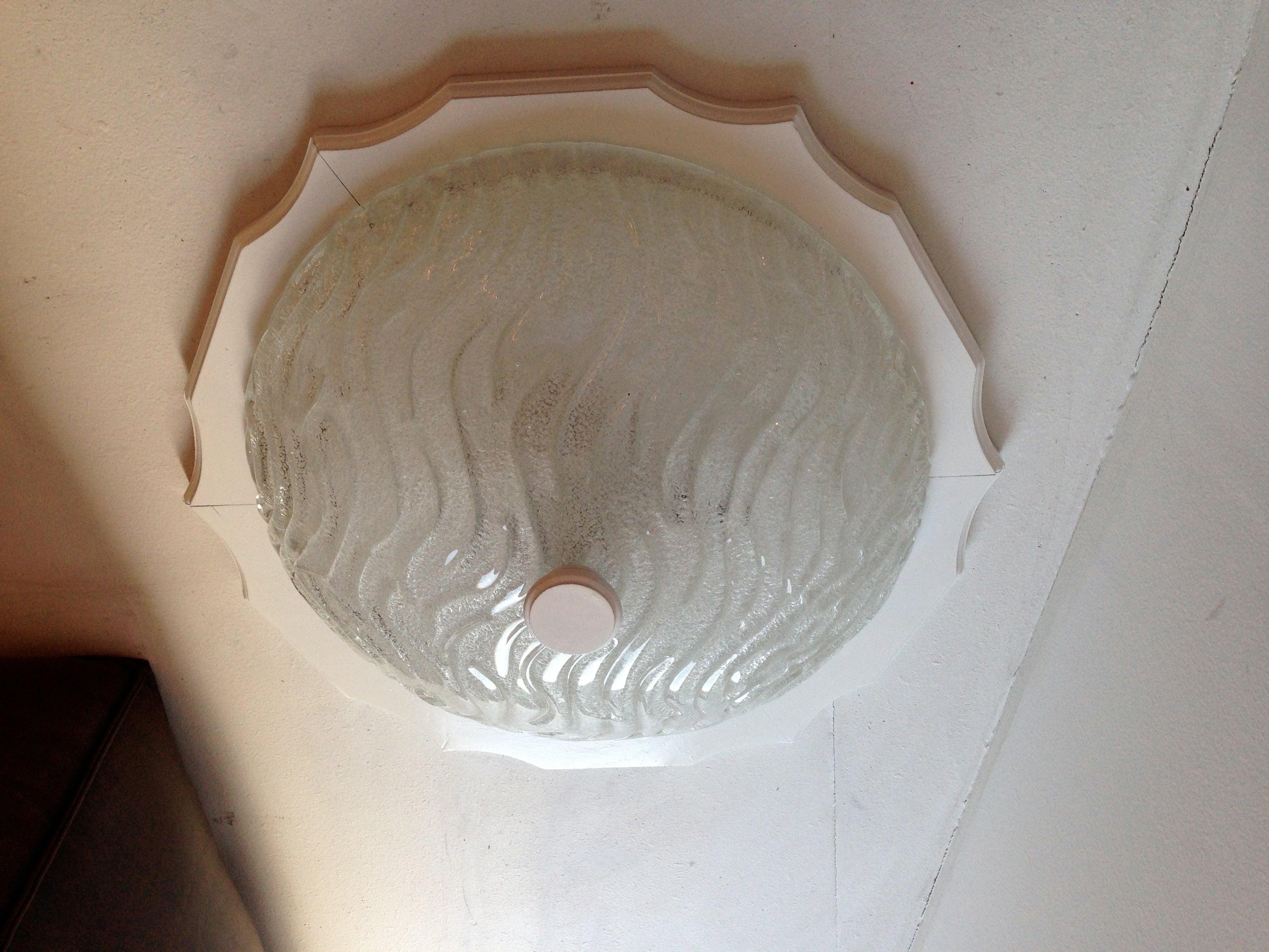 German 1960s Blown Glass Flush Ceiling Light