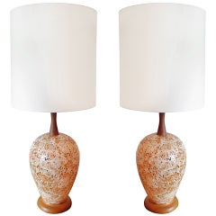 Pair of 50's Italian Art Pottery Table Lamps