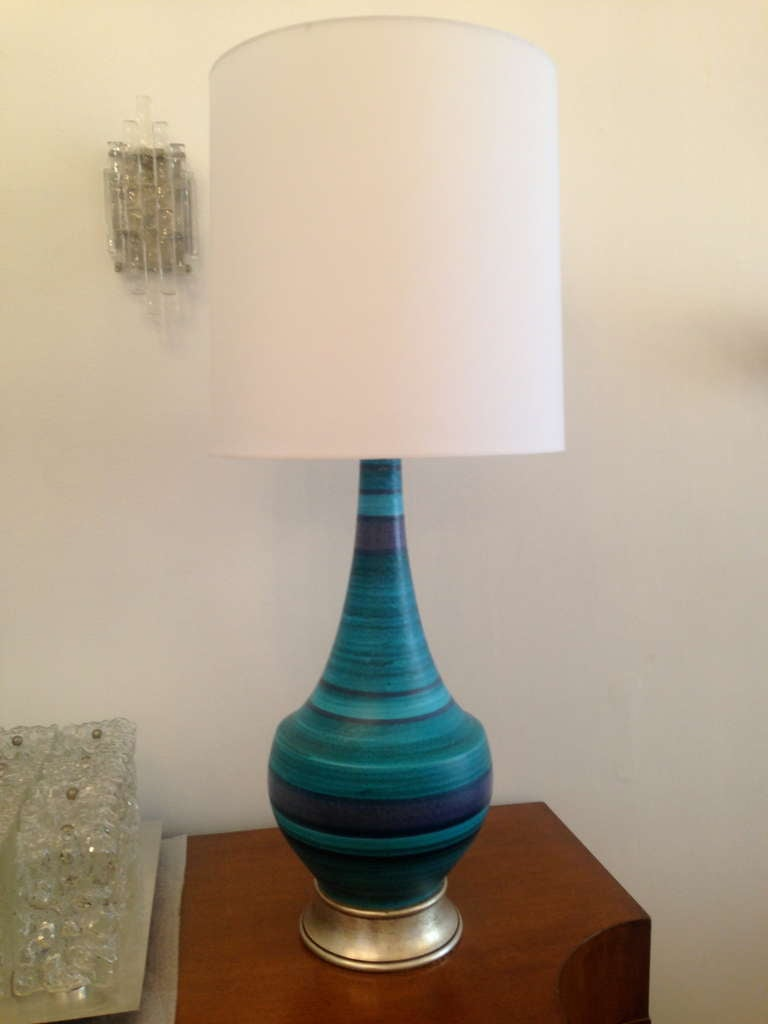 Pair Of Large Italian 60 S Pottery Lamps At 1stdibs