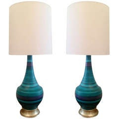 Pair of Large Italian 60's Pottery Lamps