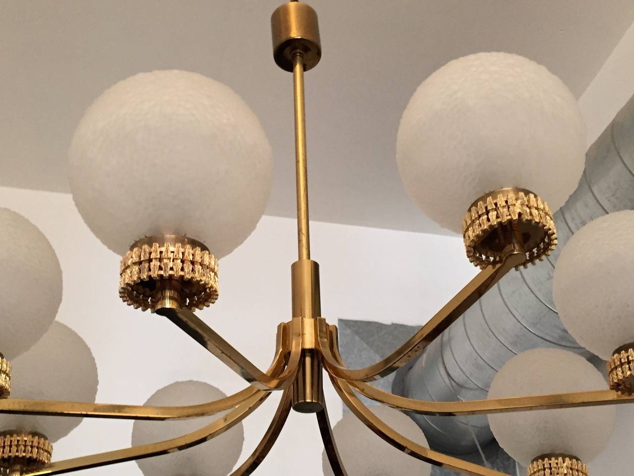 "Gold Plate German ""High Style"" 1970s Chandelier For Sale"