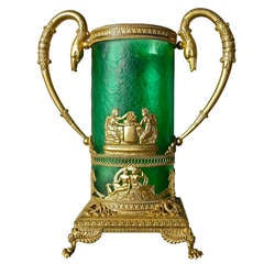 Magnificent Empire or Charles X Gilt Bronze and Emerald Green Glass Vase