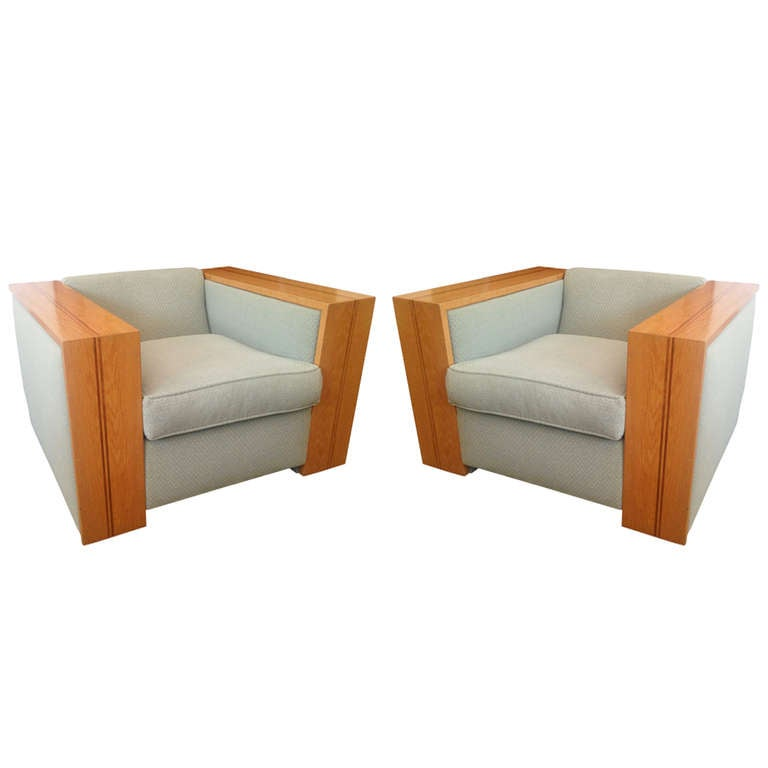 Exceptional California Architectural 1930s Club Chairs 1