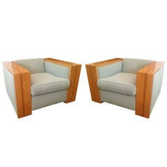 Exceptional California Architectural 1930s Club Chairs