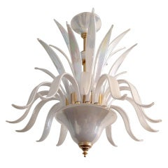 Italian 1950s Opaline Glass Chandelier