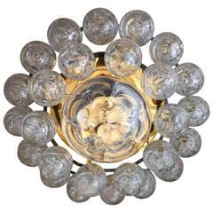 Golden Doria Glass Ball Flush Chandelier