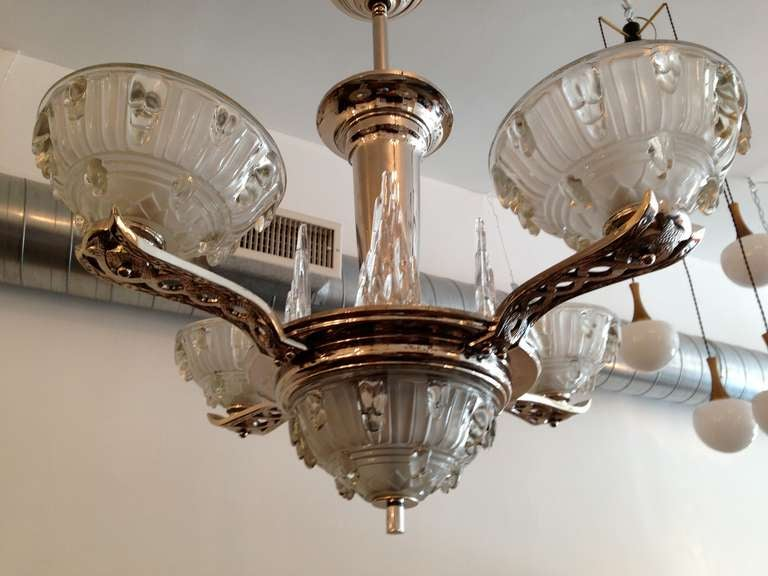 Glass French Art Deco Chandelier For Sale