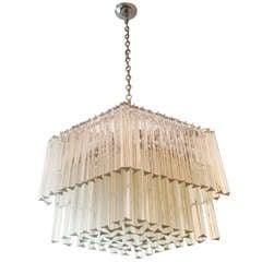 70s Modernist Glass Chandelier