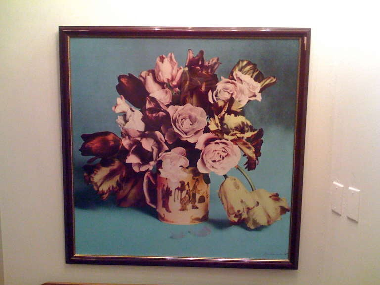 Francesco Scavullo, Roses and Tulips in Chinese Mug: screenprint in colours, 1987, on woven, signed and dated in pencil. Framed. Two others, one with a black background, the other in pink available.