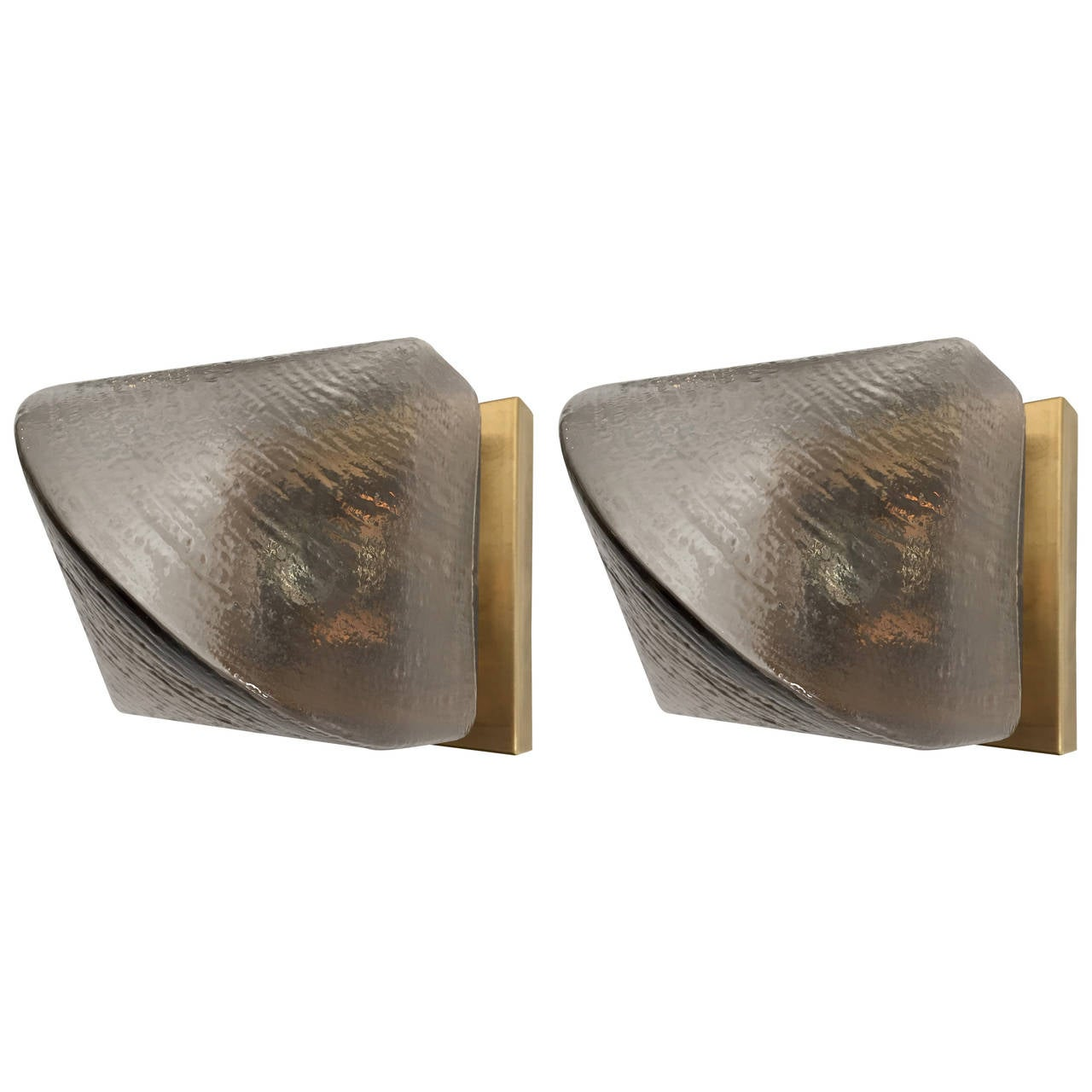 Pair of Peill and Putzler Glass, 1970s Sconces