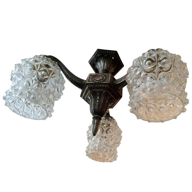 French Art Deco Silver Flush Ceiling Light