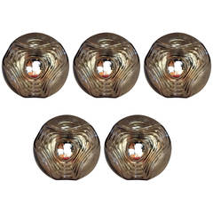 Set of Five Peill and Putzler Space Age Glass Wall Ceiling Lights