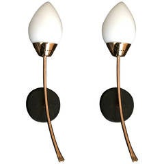 Pair of French Moderne Rose Gold Sconces