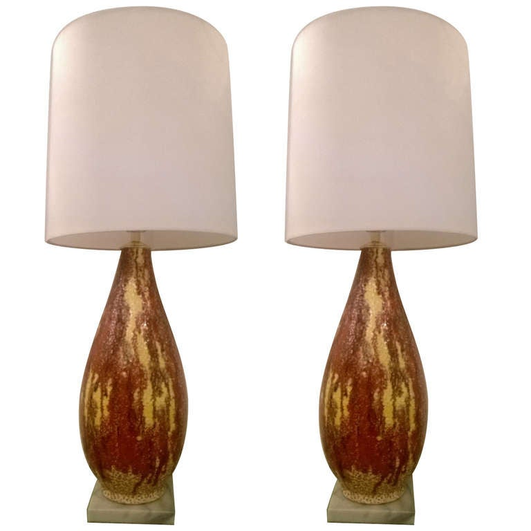 Pair of Italian 1950s Art Pottery Lamps For Sale
