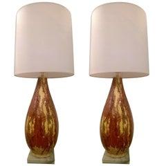 Pair of Italian 1950s Art Pottery Lamps