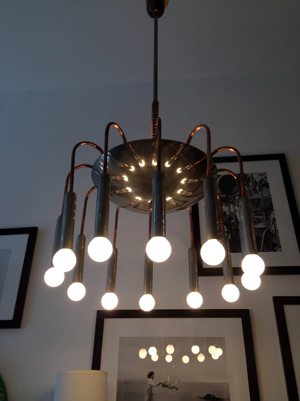 Early 20th Century Italian Futurist Chandelier 1920s Art Deco For Sale