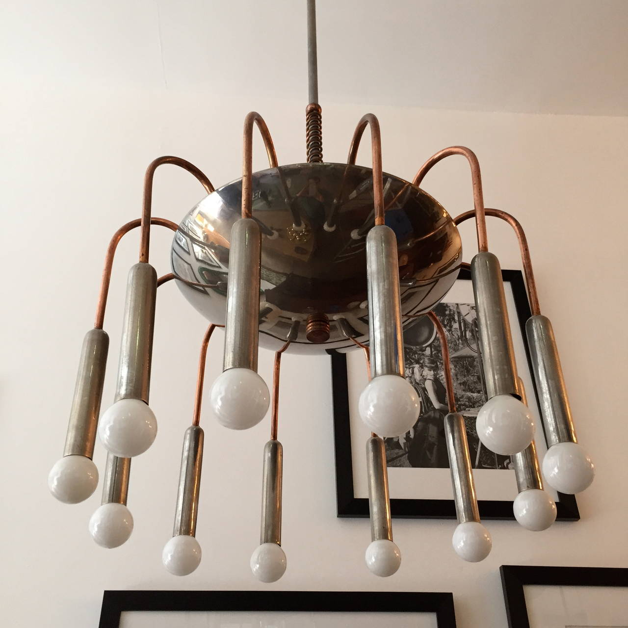 Italian Futurist Chandelier 1920s Art Deco In Excellent Condition For Sale In New York, NY