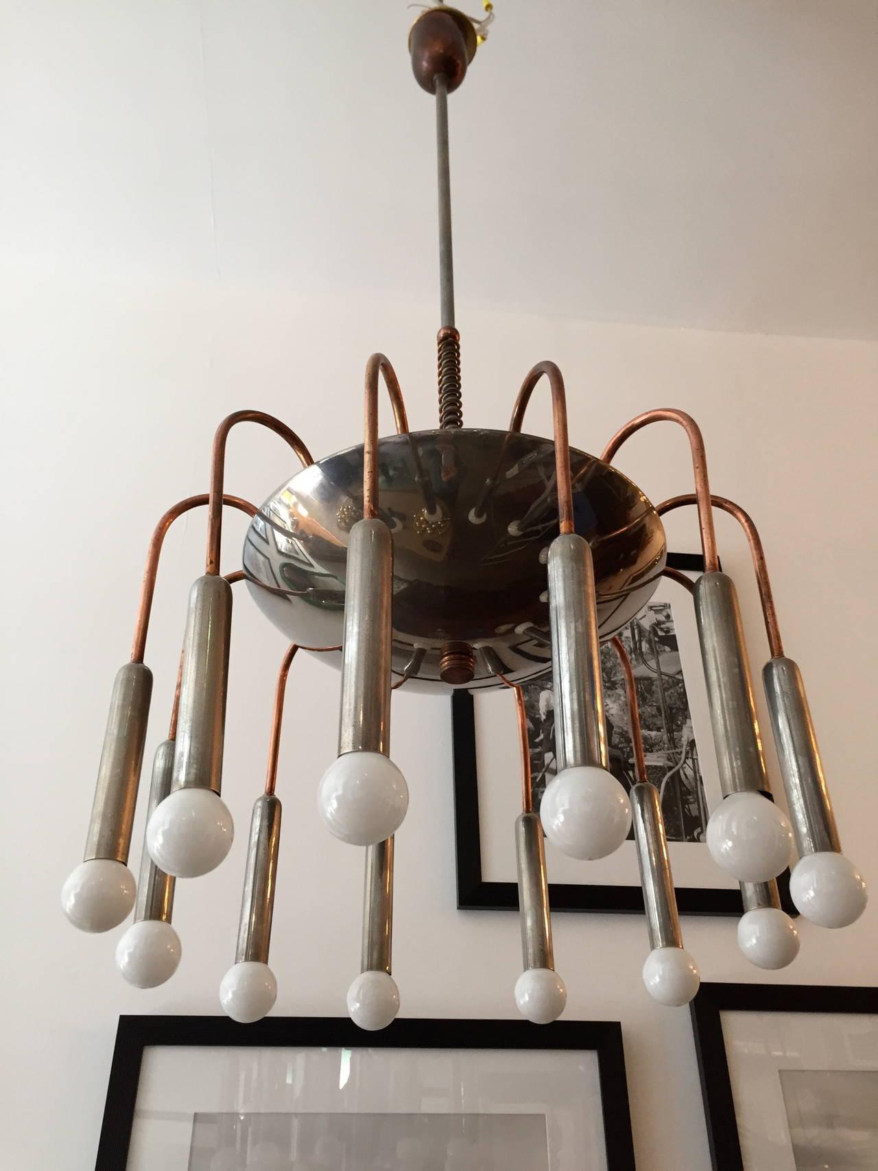 Italian Futurist Chandelier 1920s Art Deco For Sale 5