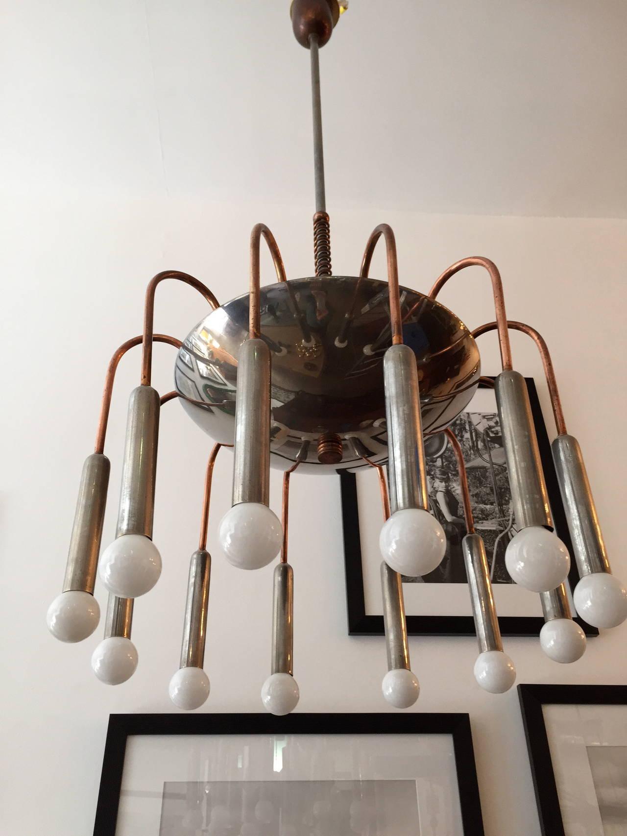 Italian Futurist Chandelier 1920s Art Deco For Sale 3