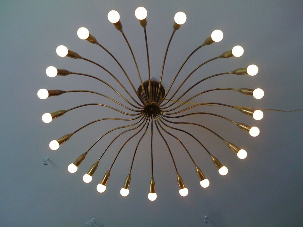 A rare Arredoluce Germany brass 50's spider flush mounted ceiling light. 24 lights. This is one of the best of this type of Italian spider chandeliers.Great aged patina.