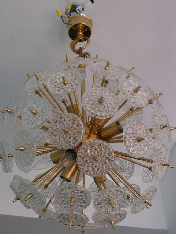 Brass Pair of Belgian Snowflake Chandeliers