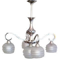 French Moderne Nickel Chandelier