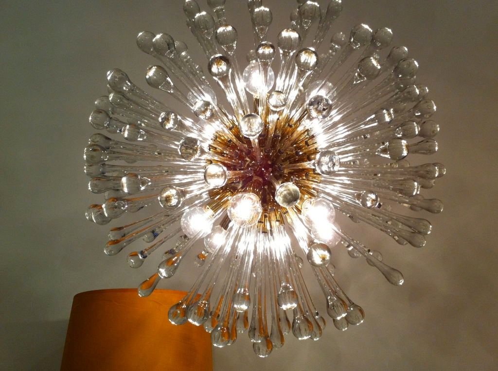 Polished Pair of 1960s Italian Murano Glass Dandelion Chandelier For Sale