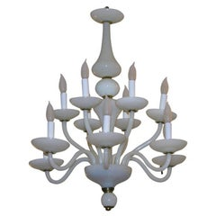 French 1960s White Opaline Glass Chandelier