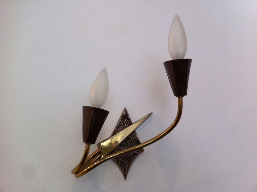Pair of French 1970s Appliques or Sconces For Sale 6
