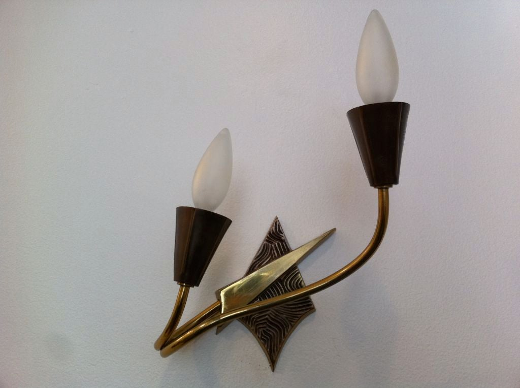 Late 20th Century Pair of French 1970s Appliques or Sconces For Sale