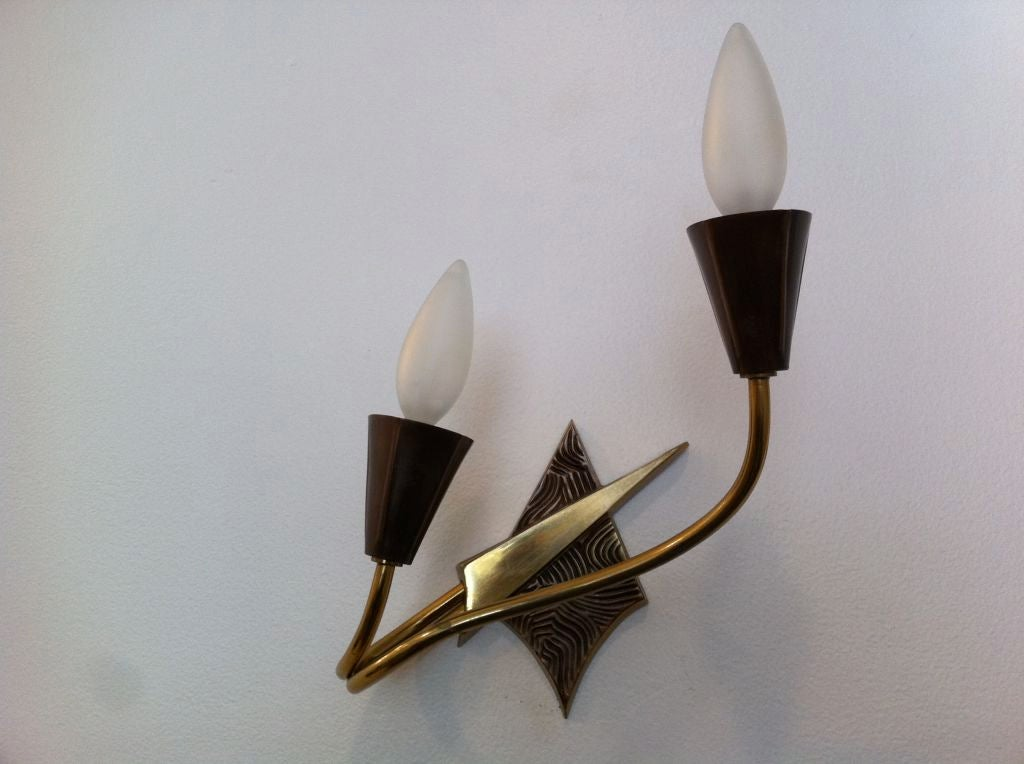 Brass Pair of French 1970s Appliques or Sconces For Sale