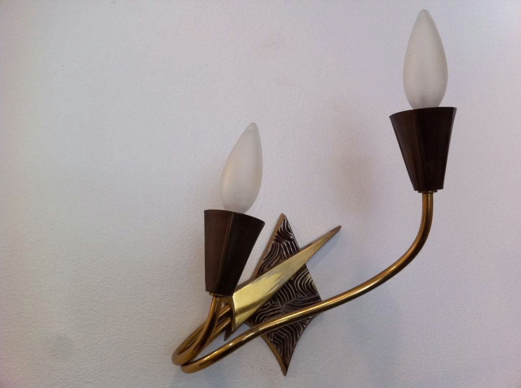Pair of French 1970s Appliques or Sconces For Sale 4