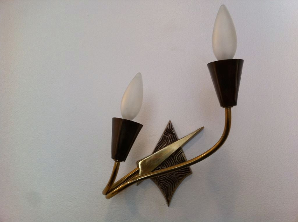 Pair of French 1970s Appliques or Sconces For Sale 5