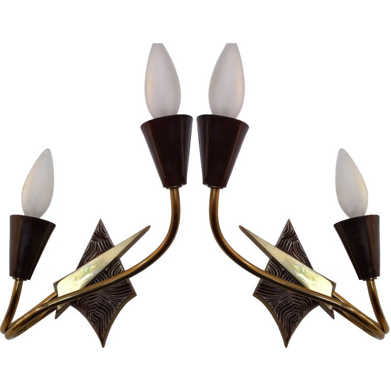 Pair of French 1970s Appliques or Sconces For Sale