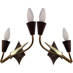 Pair of French 1970s Appliques or Sconces