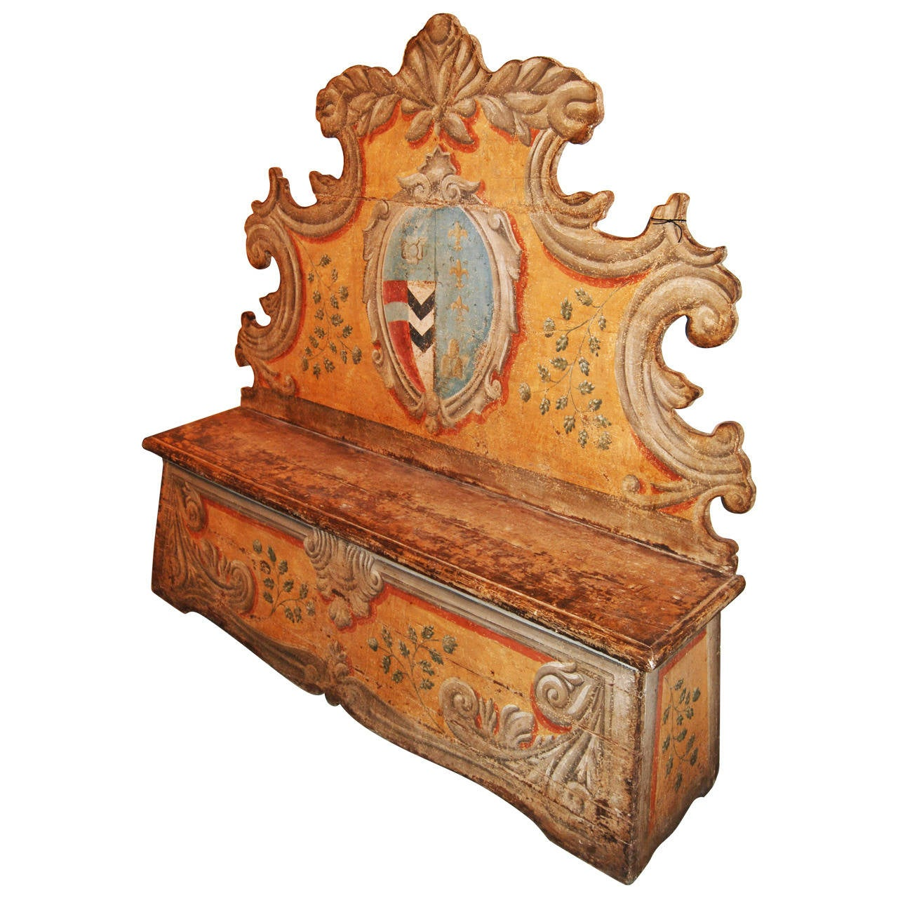 19th Century Painted Italian Bench