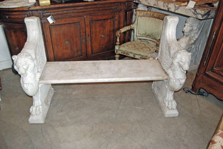 Beautifully Carved Marble Bench