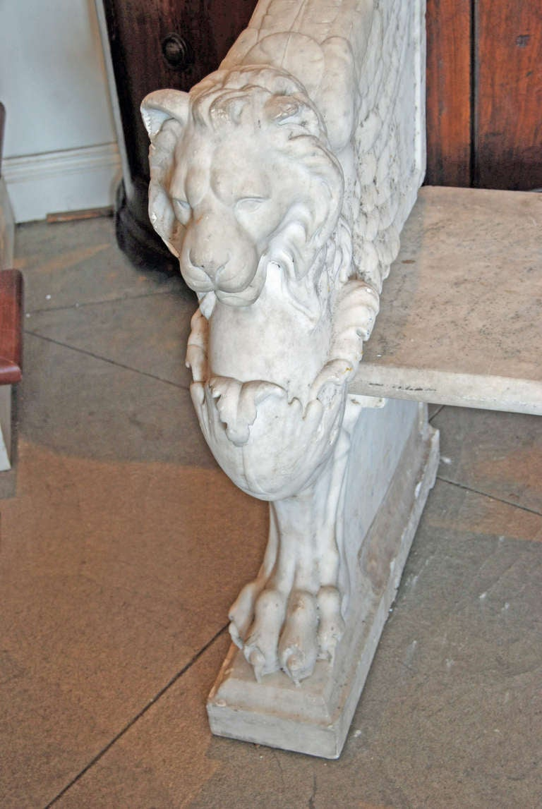 19th Century Italian Marble Bench In Good Condition For Sale In New Orleans, LA