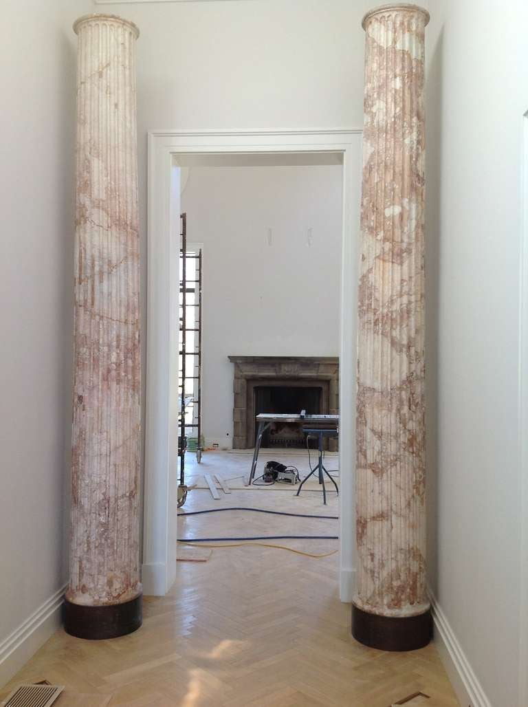 Two Classical marble columns deaccessioned by the Getty (originallypurchased for the museum by Claus von Bulow) and most recently displayed in a private Montecito,California residence,the former music pavillion on Aready Estate which was built by