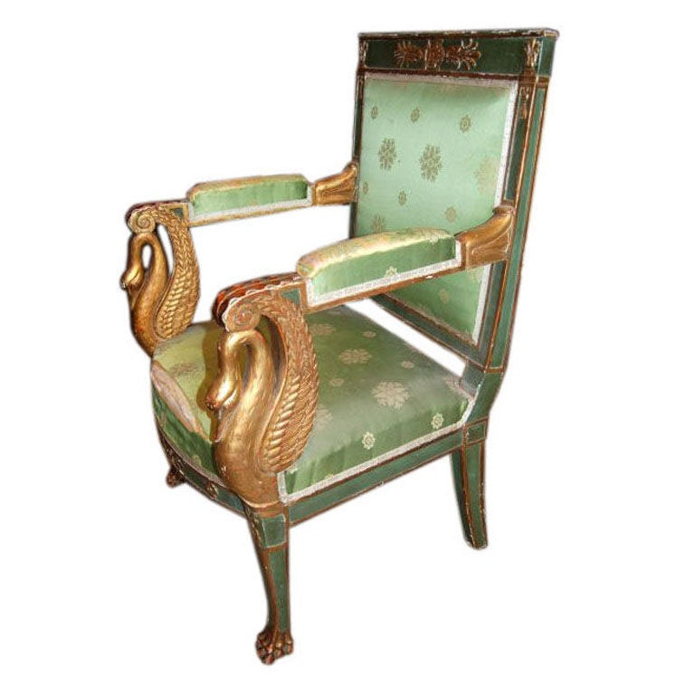 Napoleon  III Carved and Gilded Armchair