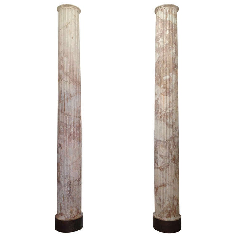 Pair of Classical Marble Columns For Sale
