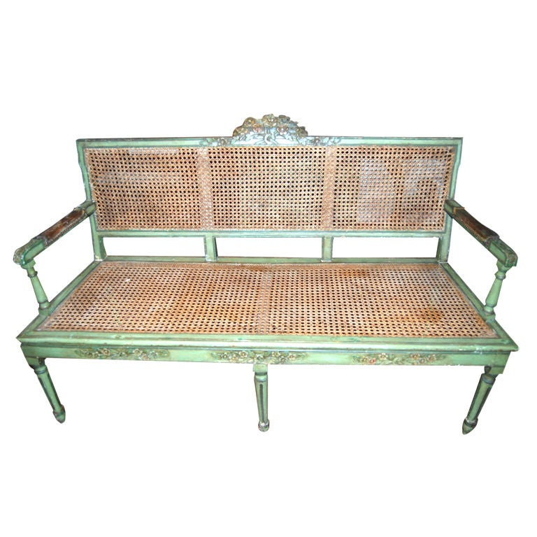 19th c. Caned and Painted Bench