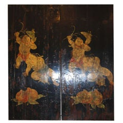Pair 19th c. Chinese Painted Panels