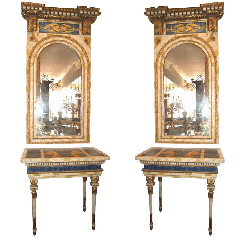 Pair 18th c roman consoles mirrors at 1stdibs for Empire antiques new orleans