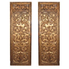 Pair 18thc Italian Carved  Giltwood Door Panels