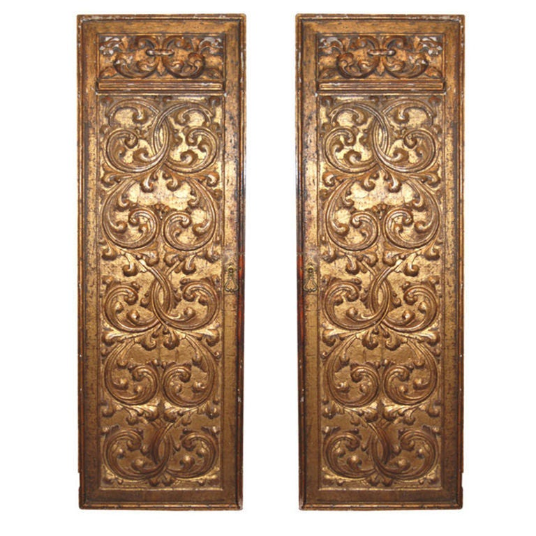 Carved Door Panels : Pair thc italian carved giltwood door panels for sale at