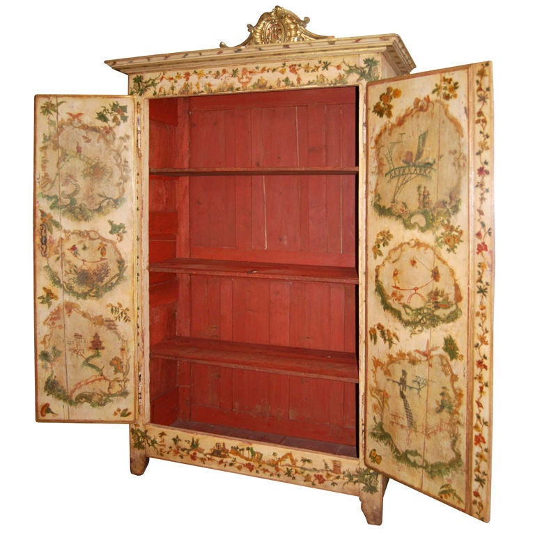 19thc. Painted Armoire